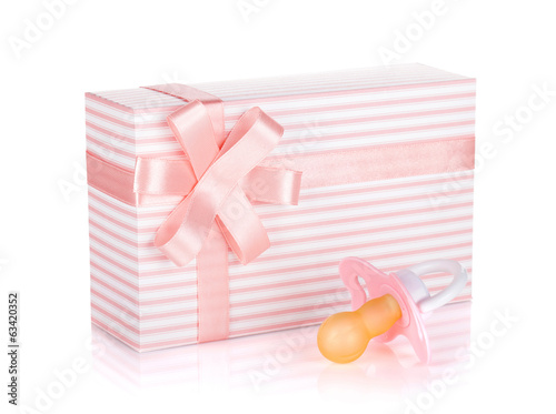 Gift box and pacifier for little girl