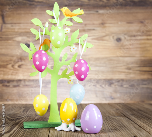colored easter eggs in a tree