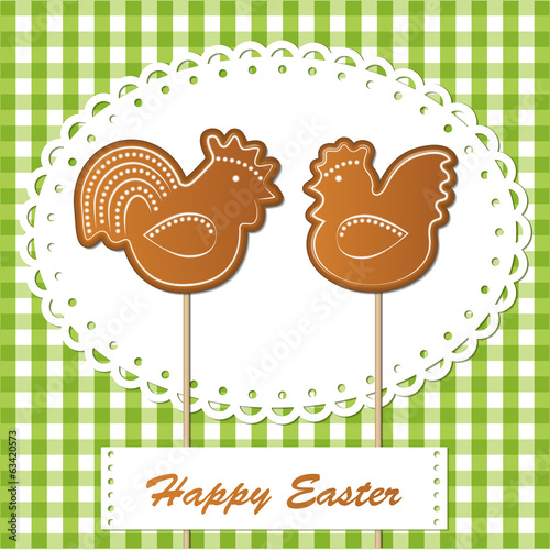 easter gingerbread cookies on spring background, chickens