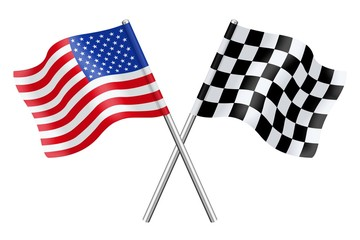 Flags : the United States and checkerboard