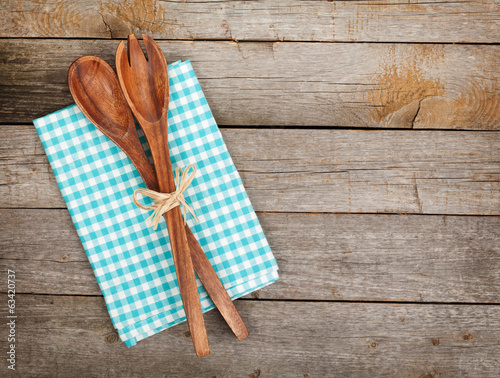 canvas print picture Vintage kitchen utensils over wooden table