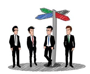 Panneau de direction multicolore hommes costume dessin