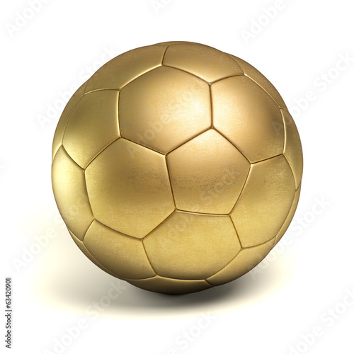 Golden soccer ball isolated on white background
