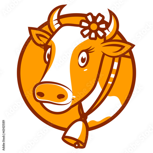 Good cow smiling emblem