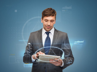 buisnessman with tablet pc