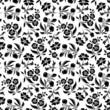 Seamless black floral pattern on white. Vector illustration.