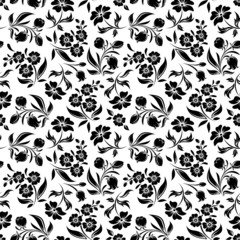 Seamless black floral pattern on white. Vector illustration.