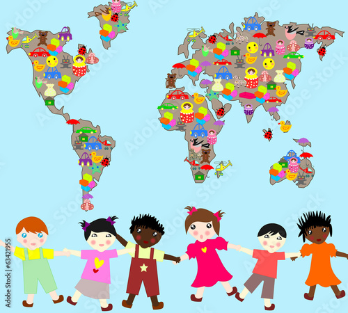 Children of different races with toys, planet-planet toys for ch