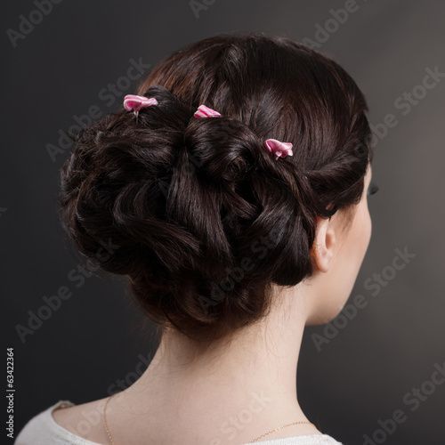 hairstyles brunette girl in studio