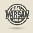 Stamp or label with text Warsaw, Poland inside, vector