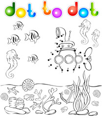 Underwater world and submarine dot to dot