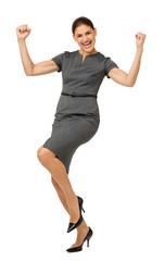 Excited Businesswoman Celebrating Success