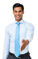 Happy Businessman Gesturing Handshake