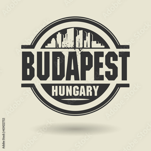Stamp or label with text Budapest, Hungary inside, vector