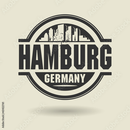 Stamp or label with text Hamburg, Germany inside, vector