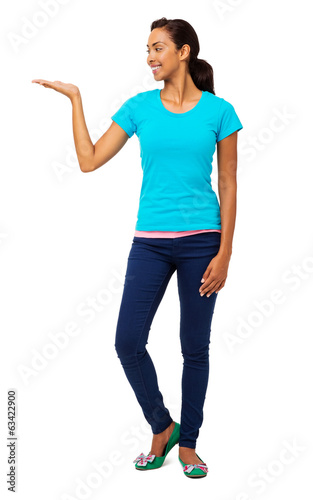 Smiling Woman Holding Invisible Product