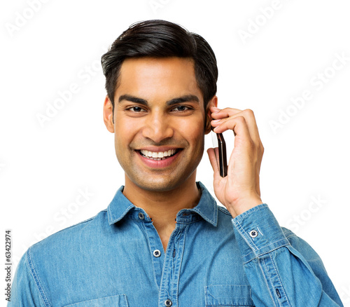 Young Man Answering Smart Phone