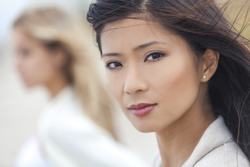 Chinese Asian Woman Girl & Female Friend at Beach