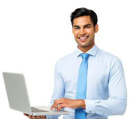 Confident Businessman Using Laptop