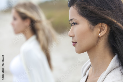 Chinese Asian Woman Girl & Female Friend at Beach