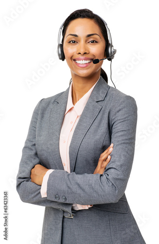 Confident Customer Service Representative Wearing Headset
