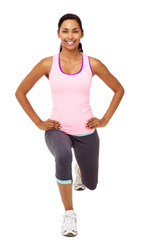 Smiling Woman Performing Stretching Lunge Exercises