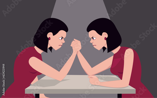 Woman arm wrestling with herself
