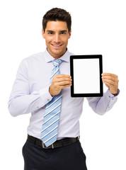 Handsome Businessman Promoting Digital Tablet