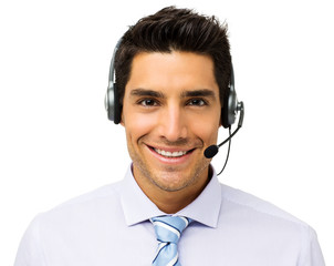 Customer Service Representative Wearing Headset