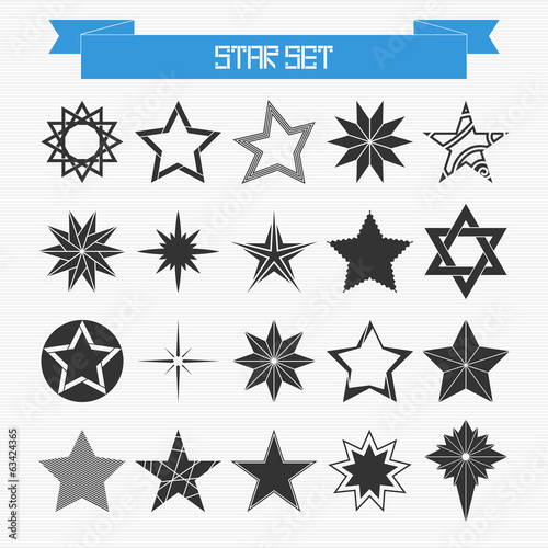 Vector set of different abstract stars