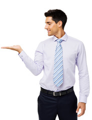 Businessman Presenting Invisible Product