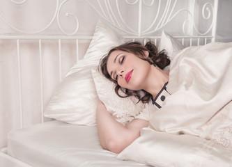 Beautiful plus size woman sleeping