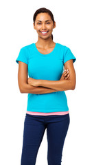Woman In Casuals Standing Arms Crossed
