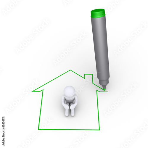Drawing a house around a person