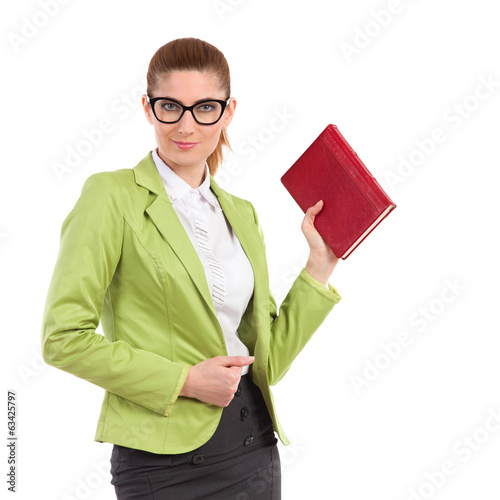 Woman is posing with a red book