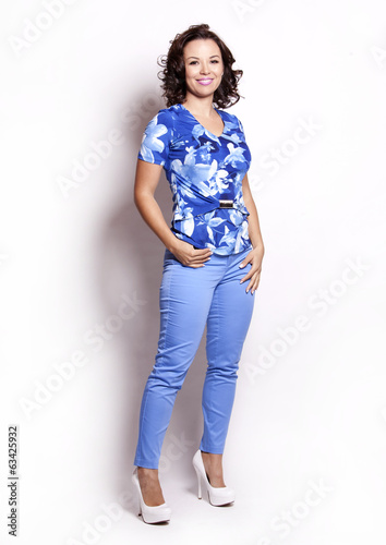 summer woman in blue