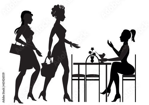 girls met in a cafe