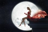 Cute woman over full moon background - 63426783