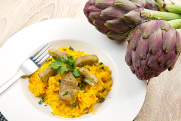 Italian risotto with artichok