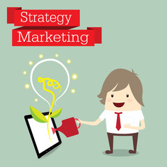 businessman is happy strategy marketing, business concept