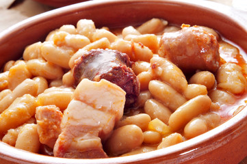 fabada asturiana, typical spanish bean stew