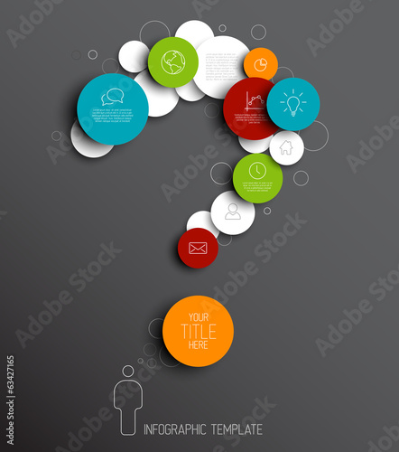 Question mark - dark Vector infographic template