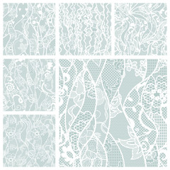 Big set of lace vector fabric seamless patterns.