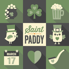 set of st patricks day flat icons with long shadow