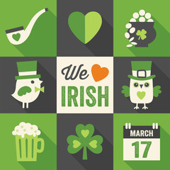 set of 9 st patricks day flat icons with long shadows