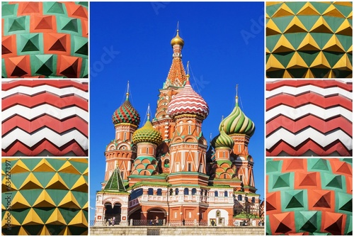 collage. St. Basil's Cathedral in Moscow