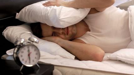 Woken up by alarm clock