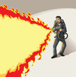 Businessman with flame thrower