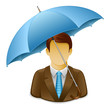 Businessman under Umbrella