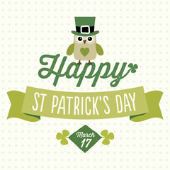 happy st patricks day card with cute owl
